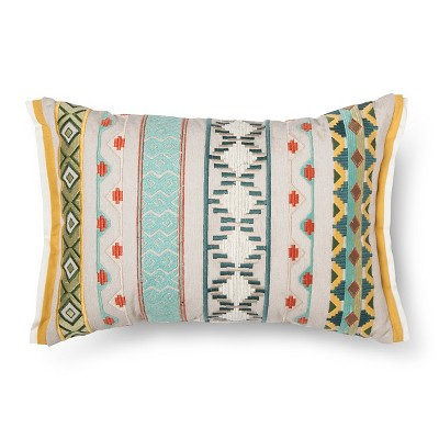 Multi Embroidered Oblong Throw Pillow - Multi-Colored