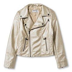 CoffeeShop Kids Girls' Pearlized Faux Leather Moto Jacket  - Gold