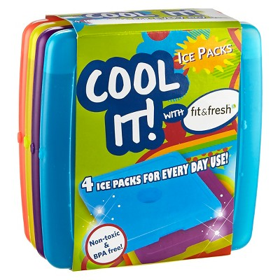 Fit & Fresh Cool Coolers Ice Packs - Set of 4 - Multicolored