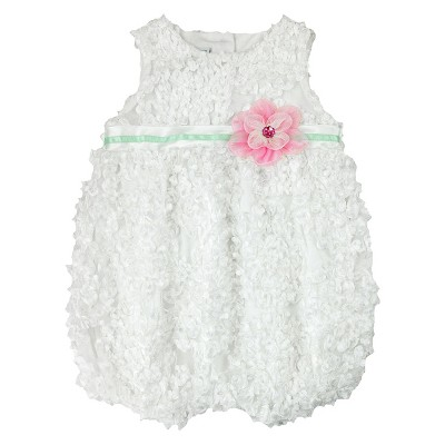 Baby Grand Signature Newborn Girls' Floral Bubble Dress - 0-3M Off White