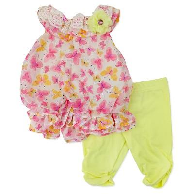 Baby Grand Signature Newborn Girls' Bubble Dress with Leggings - 3-6M White