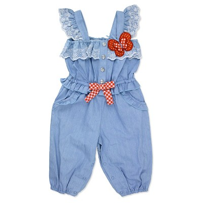 Baby Grand Signature Newborn Girls' Chambray Butterfly Jumpsuit - 0-3M Blue