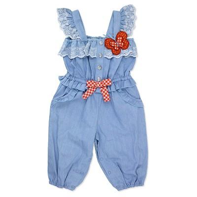 Baby Grand Signature Newborn Girls' Chambray Butterfly Jumpsuit - 3-6M Blue
