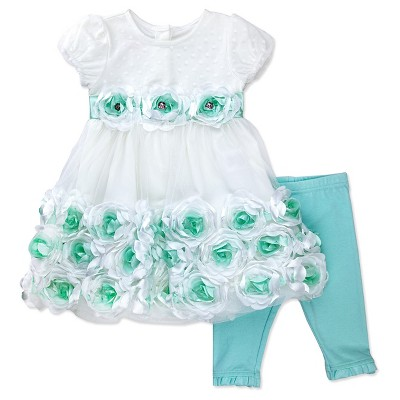 Baby Grand Signature Newborn Girls' Floral Embellished Dress with Leggings -0-3M Off White