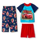 Toddler Boys' Disney Cars Short Sleeve 3-Piece Pajama Set Blue 4T