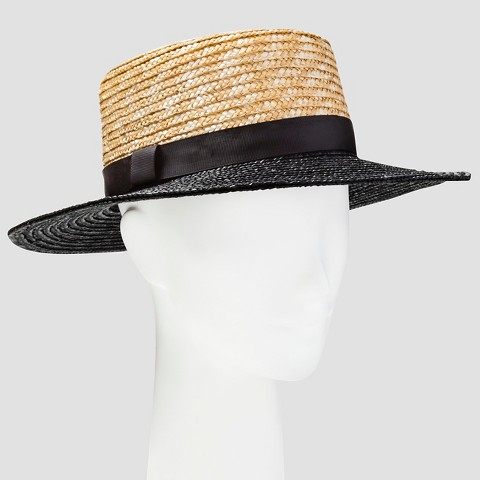 s straw boater hat with black target