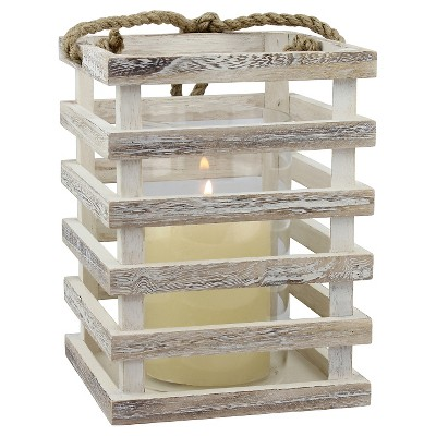 Medium Weathered White Beach House Lantern