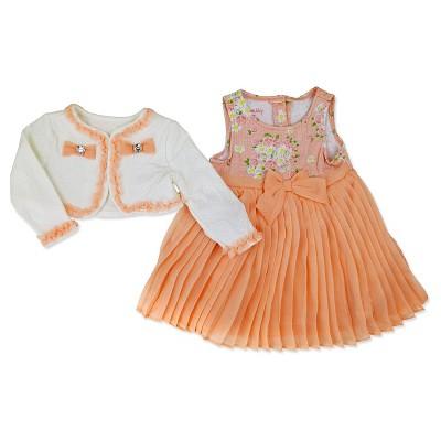 Baby Grand Signature Newborn Girls' Shrug with Sleeveless Dress - 6-9M Peach