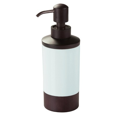 InterDesign Formbu Soap Pump Dispenser - White/Espresso (10 oz.)