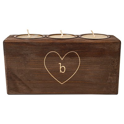 Monogram Heart Rustic Sugar Mold Unity Candle - B