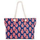 Under One Sky Women's Lobster Printed Beach Tote Handbag - Red/Navy