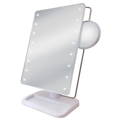 Sensor Touch LED Vanity Mirror with Tray Base Sharper Image