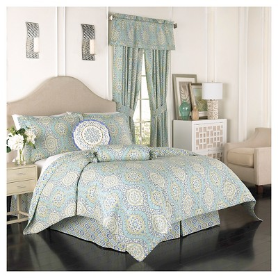 Quilt Set Moonlight Medallion  Full/Queen -4 piece set Blue Waverly