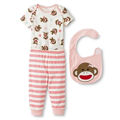 Baby Starters Sock Monkey Newborn Girls' 3 Piece Bib Set - 3M Pink/Ivory