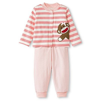 Baby Starters Sock Monkey Newborn Girls' 3 Piece Pant Set - 6M Pink/Ivory