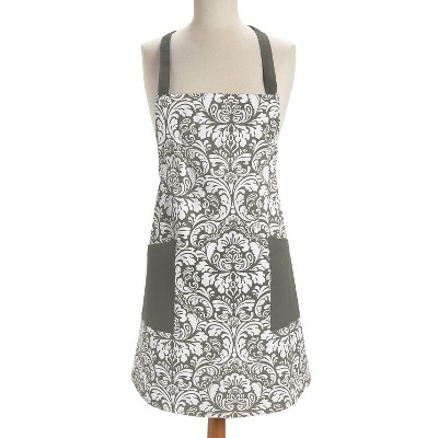 Design Imports Damask Apron - Gray