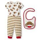 Baby Starters Sock Monkey Newborn 3 Piece Bib Set - Brown/Ivory