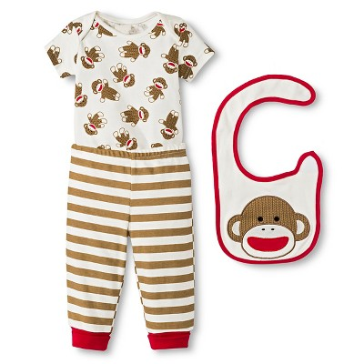 Baby Starters Sock Monkey Newborn 3 Piece Bib Set - 9M Brown/Ivory