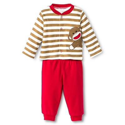 Baby Starters Sock Monkey Newborn 3 Piece Pant Set - 9M Brown/Ivory