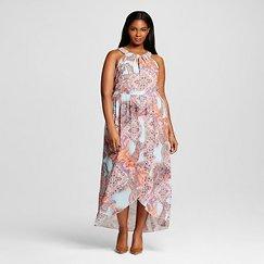 Women's Plus Size Halter Neck Printed Maxi Dress Morning Sky - Spenser Jeremy