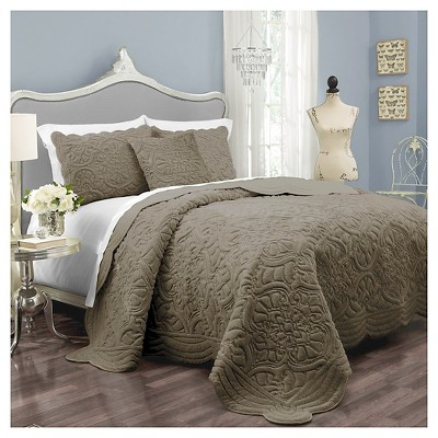 Coverlet Set Charlotte Plush Décor Faux Fur  Queen -3 piece Taupe Gray Vue Signature