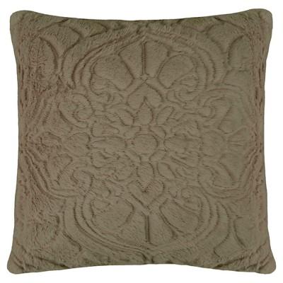 Decorative  Pillow Charlotte Plush Décor Faux Fur(18x18) Taupe Gray Vue Signature