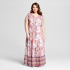 Women's Plus Size Sleeveless Maxi with Tie Red - Spenser Jeremy