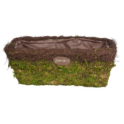 "Panacea 15"" Moss Garden Trough Planter & Plate"