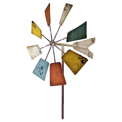 "12"" x 51"" Square Vintage Windmill Garden Stake - Multi-color"