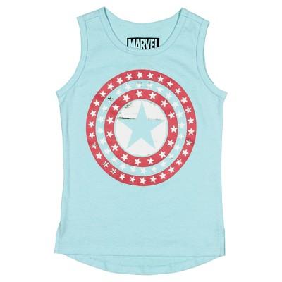 Toddler Girls' Captain America Tank Top Blue - 2T
