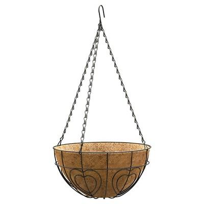 """Panacea 14"""" Heart Hanging Basket - Black"""