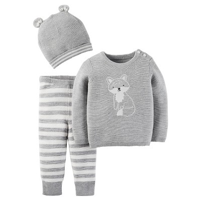Just One You™Made by Carter's® Newborn Boys' 3 Piece Sweater Set – Grey 12M