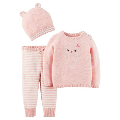 Just One You™Made by Carter's® Newborn Girls' 3 Piece Sweater Set – Pink 9M
