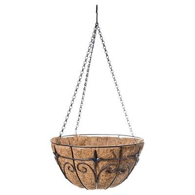"""Panacea 14"""" Round Hanging Basket - Black"""