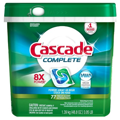 Cascade Complete Fresh Scent Dishwasher Detergent Pacs 48.8 oz