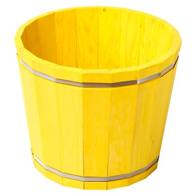 """Susquehanna 18.5x18.5x15.5"""" Large Pine Stained Barrel Planter - Yellow"""