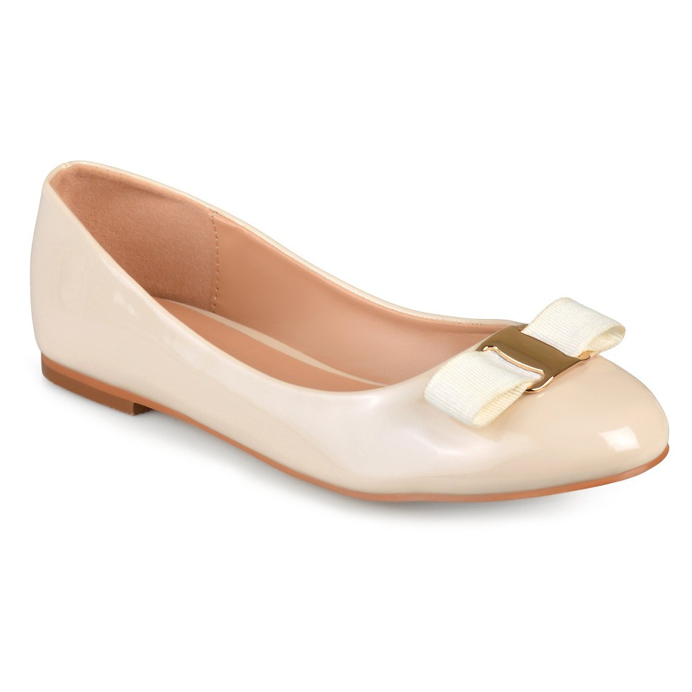 Women's Journee Collection Kim Patent Round Toe Flats - Nude 11