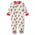Baby Starters Sock Monkey Newborn Girls' Sleep N' Play - 9M Pink/Ivory