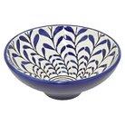 "Three Hands Ceramic Bowl - Blue/White (4.75"")"