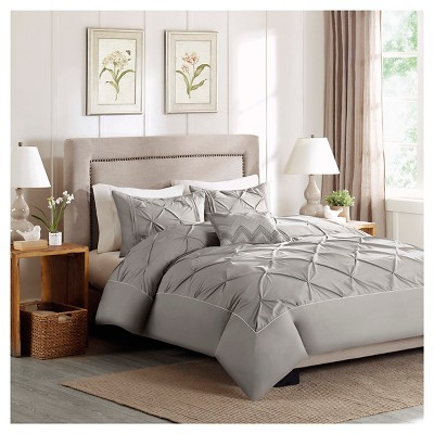 Zoey 4 Piece Cotton Percale Duvet Cover Set - Grey (Full/Queen)