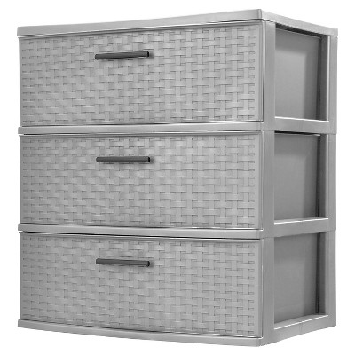 Sterilite® 3-Drawer Wide Tower - Cement Weave