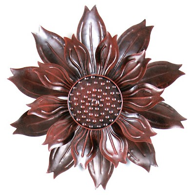 "12"" x 43"" Kinetic Dual Petal Sunflower Flower Garden Stake - Bronze"