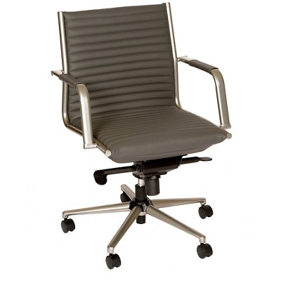 Leo Modern Office Chair Gray/Powder Coated Gray Metal - Armen Living