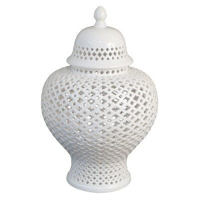 Decorative Jar Three Hands White Ceramic