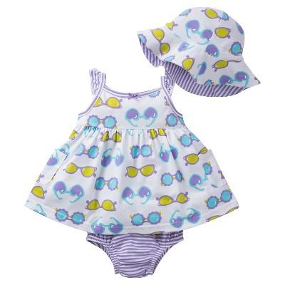 Gerber® Newborn Girls' 3 Piece Sunglasses Dress, Panty and Hat Set - 3-6M Purple/Green/White