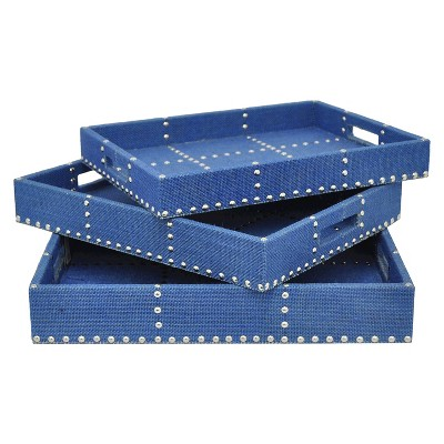 "Three Hands Decorative Tray set of 3 - Blue (3/2.5/2"" )"