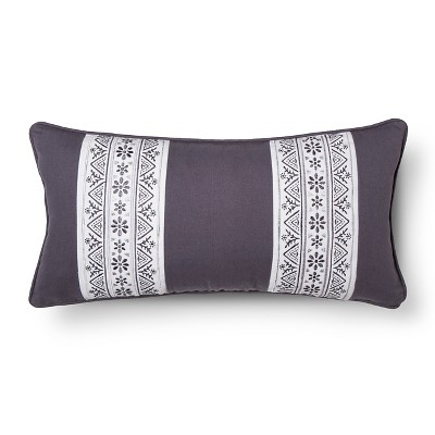"Cresta Embroidered Decorative Pillow (12""x24"") Grey - homthreads™"