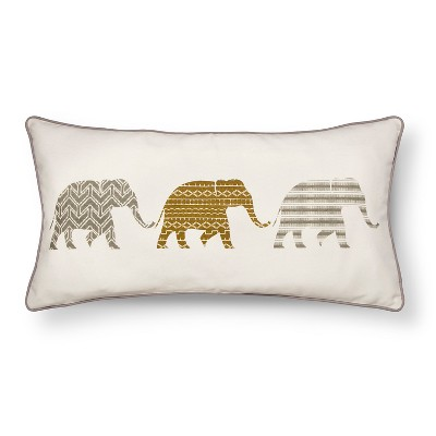 Zavarka Elephant Row Decorative Pillow 12x24 Multicolored - homthreads™