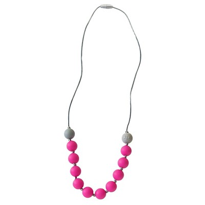 Itzy Ritzy Teething Happens™ Round Bead Petite Necklace - Hot Pink