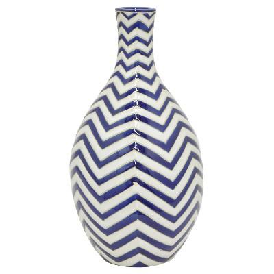 """Three Hands Ceramic Vase - Blue/White (15.5"""")"""